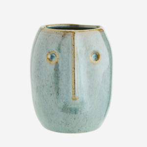 Hani Light Green Blue Ceramic Flower Pot Planter Vase with Face Head Design