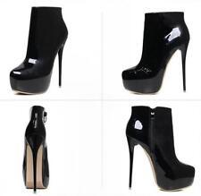 Schwarz/Rot Sexy PU Lackleder Damen High Heel Stiletto Schuhe Stiefel Gr. 41-46