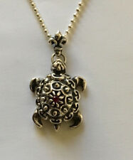 Turtle With Ruby Silver Pendant
