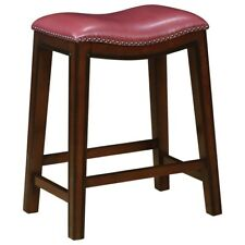 Counter Height Stool in Burnished Cappuccino and Crimson Seat  - Set of 2