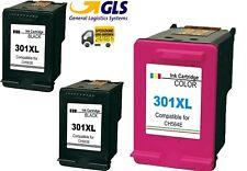 Kit 3 Cartucce COMPATIBILI per HP 301XL alta resa 2 NERO+1 COLORE Envy4500 5530