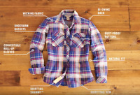 Duluth Trading Company Womens Crosscut Wicking Flannel Shirt XS NEW $54.50