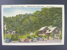West Virginia WV Hawks Nest State Park Grille Picnic Linen Postcard 1930-45