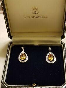 GORGEOUS YELLOW TOPAZ on 18K WHT GOLD & DIAMOND EARRING - ESTATE SALE