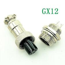 Aviation Plug GX12-3 3pin 12mm Male & Female panel Metal Connector NEW