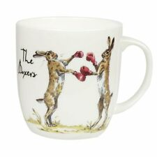 Queens COUNTRY PURSUITS The BOXERS MUG Rabbits - Bone China Olive 300ml