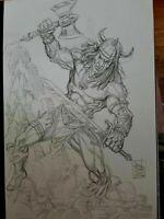 MARVEL Comics CONAN Original Art Commission Sketch Arvell Jones RED SONJA BELIT