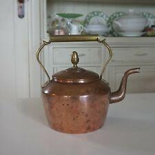 Antique Victorian Copper Kettle with Brass Acorn Knob & Handle 1.5L 21cm high
