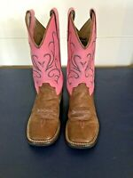 Old West Pink Leather Girls Boots BSC1839 Size 11 Pink and grey Stitching EUC