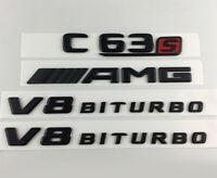 C63S AMG V8 BITURBO Matt Schwarz Nummer Briefe Emblem Aufkleber Logo Sticke 3D