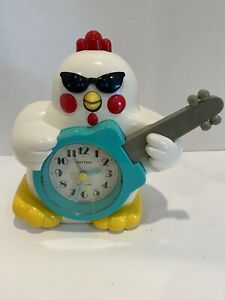 Rare Rhythm Rock And Roll Chicken Rooster Clock WORKS!!!!