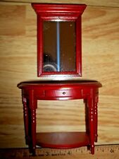 1/2 ROUND TABLE  WITH MIRROR- WOOD - DOLL HOUSE MINIATURE