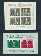 Switzerland 371a B297 souvenir sheets VF NH NABAG Exhibition, Owl_T-Square