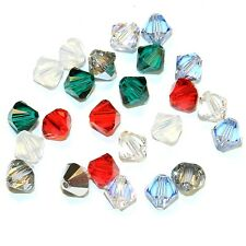 SCB5507 CHRISTMAS MIX Red Green Silver 6mm Bicone Swarovski Crystal Beads 24/pkg