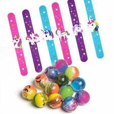 6 Bouncy Ball & 6 Unicorn Bracelets Kids loot Party Bag Fillers Favours Birthday