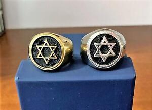 Men Jewish Messianic Star of David Ring- Gold or Silver- Magen David- SZ 8-13