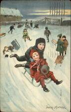 Children Sledding - Jenny Nystrom c1910 Postcard