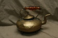 Antique Brass Peg Footed Goose Neck Tea Pot Amber Glass Handle Dovetail Constr,n