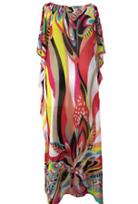 Izzy - Stunning Ladies Bright Bold Multi Colour Chiffon Kaftan Dress One Size