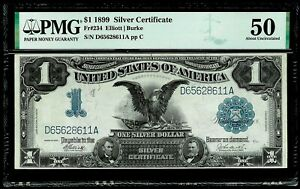1899 US $1 SILVER CERTIFICATE BLACK EAGLE NOTE PMG ABOUT UNC 50 FR #234
