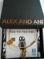 Alex and Ani Charity By Design Ode To The Owl Bracelet Rafaelian Gold NWTB & C