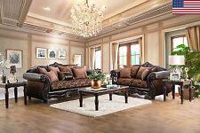 2p Sofa Set Living Room Furniture Formal Traditional Sofa Loveseat Pillows Brown
