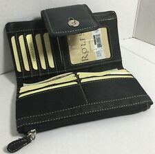 New Rolfs ladies soft  Bifold accolade Black Genuine Leather wallet purse