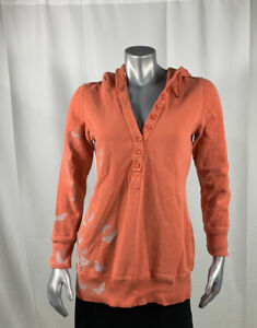 Free People Hoodie Women's Sweatshirt Size L Orange with Gray Butterflies GUC