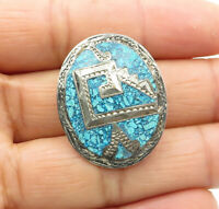 925 Sterling Silver - Vintage Crushed Turquoise Patterned Brooch Pin - BP4381