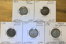 Lot of 5 France Silver 50 Centimes: 1916-1920