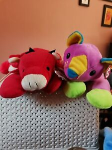 Red And Meow Ty The Pillow Pals Collection Vintage Bull Cat Bundle