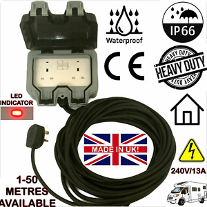 Outdoor Extension Lead Twin Waterproof Mains IP66 2 Socket - 25M Or 30M Cable