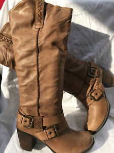 Next Light Brown Knee High Leather Boots Size 6.5 (90BB)