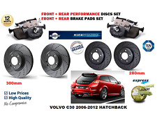 FOR VOLVO C30 2006-2012 FRONT REAR PERFORMANCE DRILLED BRAKE DISCS SET + PAD KIT