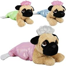 40 cm Soft Plush Sparkle Lying Pug Mermaid Dog Puppy Teddy Stuffed Cute Toy Tail
