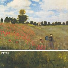 """46""""x34"""" COQUELICOTS by CLAUDE MONET - POPPY FIELDS CANVAS"""