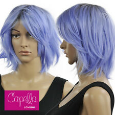 Capella London Layered Straight Pastel Cornflower Blue Bob Wig Fringe Dark Roots