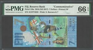 Fiji 7 Dollars 2016 ND(2017) P120a Commemorative Uncirculated Grade 66