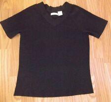 LAURA ASHLEY womens sweater black V neck short sleeves size S ec rayon/nylon