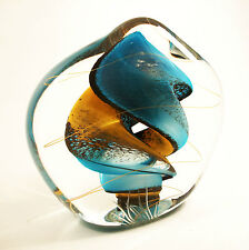 RYBKA - Vintage Carved Studio Glass Paperweight - Signed - Circa 2003