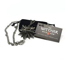 Original The Witcher 3 Wolf Medaillon + Kette + schwarzem Beutel Merchandising