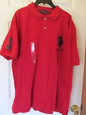 NWT Men's U.S. POLO ASSN. RED BLUE SHORT SLEEVE POLO SHIRT size LARGE Logo