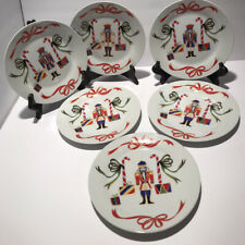 "I Godinger & Co Christmas Holiday Nutcracker Dessert Plates 7.5"" Set Of 6"