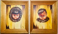 2 Vintage Original Eskimo Inuit Children Oil Painting Big Eyes Signed Lil Morris