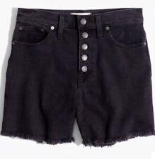 Madewell high-rise denim boyshorts faded black button-through edition Sz25 G5167