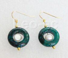 Earrings gold plated hook v720 natural Dangle 10mm white pearls Chrysocolla