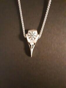 NEW HANDMADE Olmec Apocalypse Silver Necklace With Viking Raven Amulet Pendant