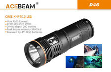 New Acebeam D46 Cree XHP70.2 5200 Lumens LED 200M Dive Light Diving Flashlight