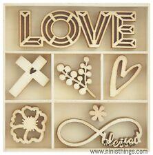Kaisercraft Wooden Flourish Pack Make a Wish 35pcs FL620 Fairy Garden