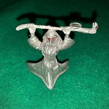 Vintage Pewter Wizard holding Snake Staff Spoontiques 1987 Cmr589. Red Eyes.
